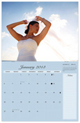"CM-20_$30: Standard Wall Calendar (stapled); 11x8.5"" folded; 11x17 hanging Includes Lunar cycles and National Holidays Section for Notes"